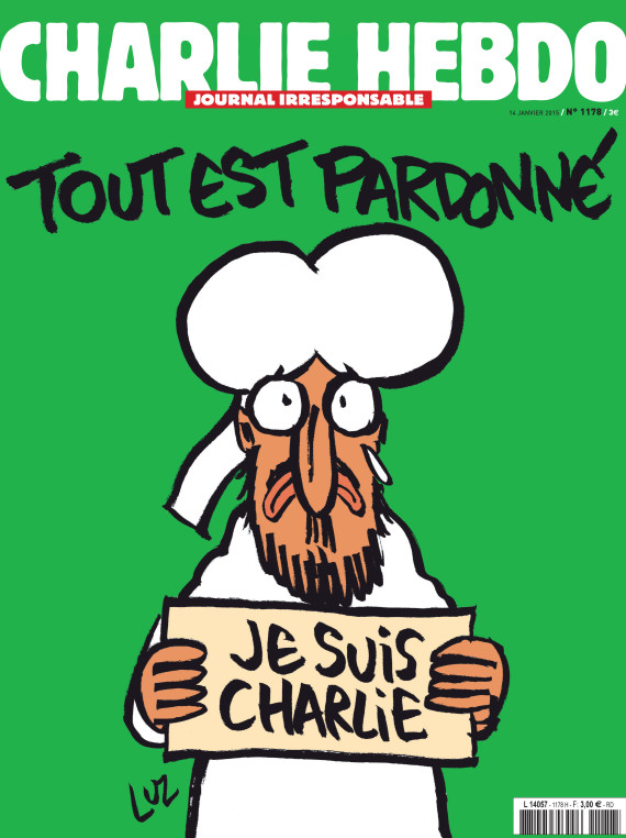 "A handout document released on January 12, 2015 in Paris by French newspaper Charlie Hebdo shows the frontpage of the upcoming ""survivors"" edition of the French satirical weekly with a cartoon of the Prophet Mohammed holding up a ""Je suis Charlie"" ('I am Charlie') sign under the words: ""Tout est pardonne"" ('All is forgiven'). The frontpage was released to media ahead of the newspaper's publication on January 14, 2015, its first issue since an attack on the weekly's Paris offices last week left 12 people dead, including several cartoonists. It also shows Mohammed with a tear in his eye. AFP PHOTO / HO /CHARLIE HEBDO = RESTRICTED TO EDITORIAL USE -- MANDATORY CREDIT ""AFP PHOTO / HO/CHARLIE HEBDO- NO MARKETING - NO ADVERTISING CAMPAIGNS -- DISTRIBUTED AS A SERVICE TO CLIENTS"